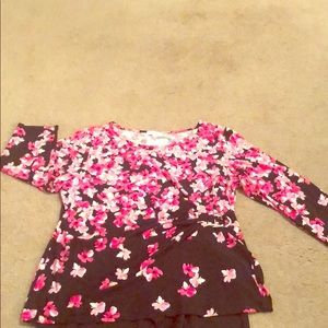 Multi pink and black blouse with faux buckle side